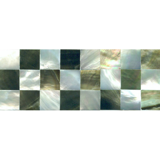 "Black & White Mother of Pearl Check Shell Tile, 2x6"", 1 Tile"