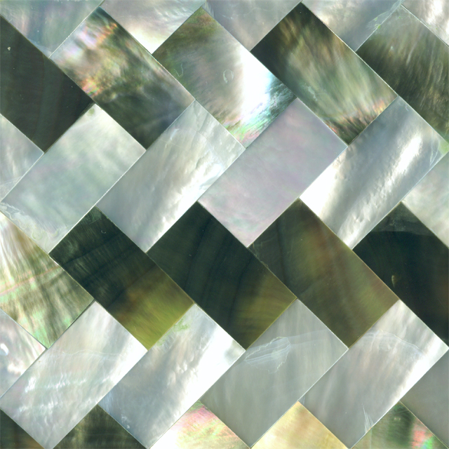 "Black & White Mother of Pearl Zig Zag Shell Tile 2"" x 2"", 1 Tile"