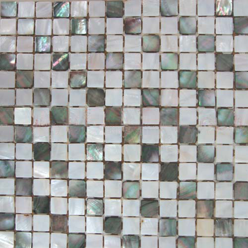 "Black Mother of Pearl & White River Shell Mosaic Sheet 20mm - 3/4"", 1 tile"