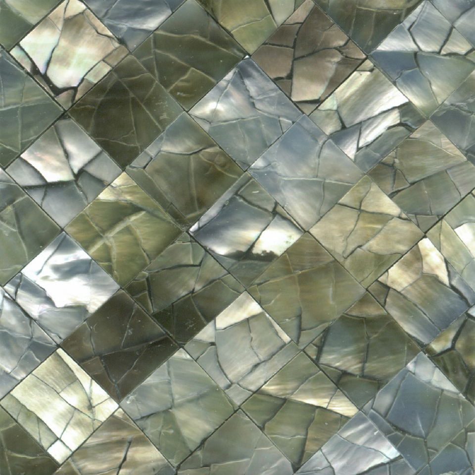 "Black Mother of Pearl Diamond Crackle Shell Tile, 2x2"", 1 Tile"