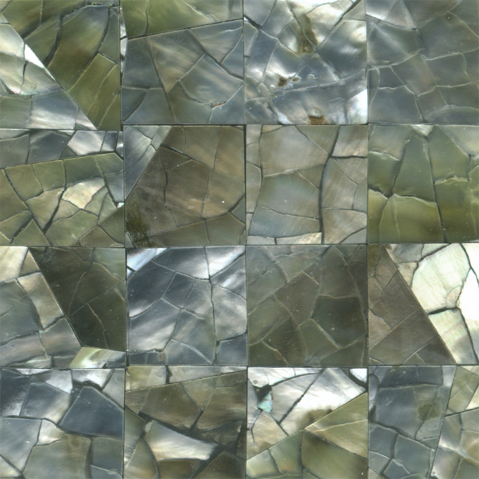"Black Mother of Pearl Squares Crackle Shell Tile, 2x2"", 1 Tile"