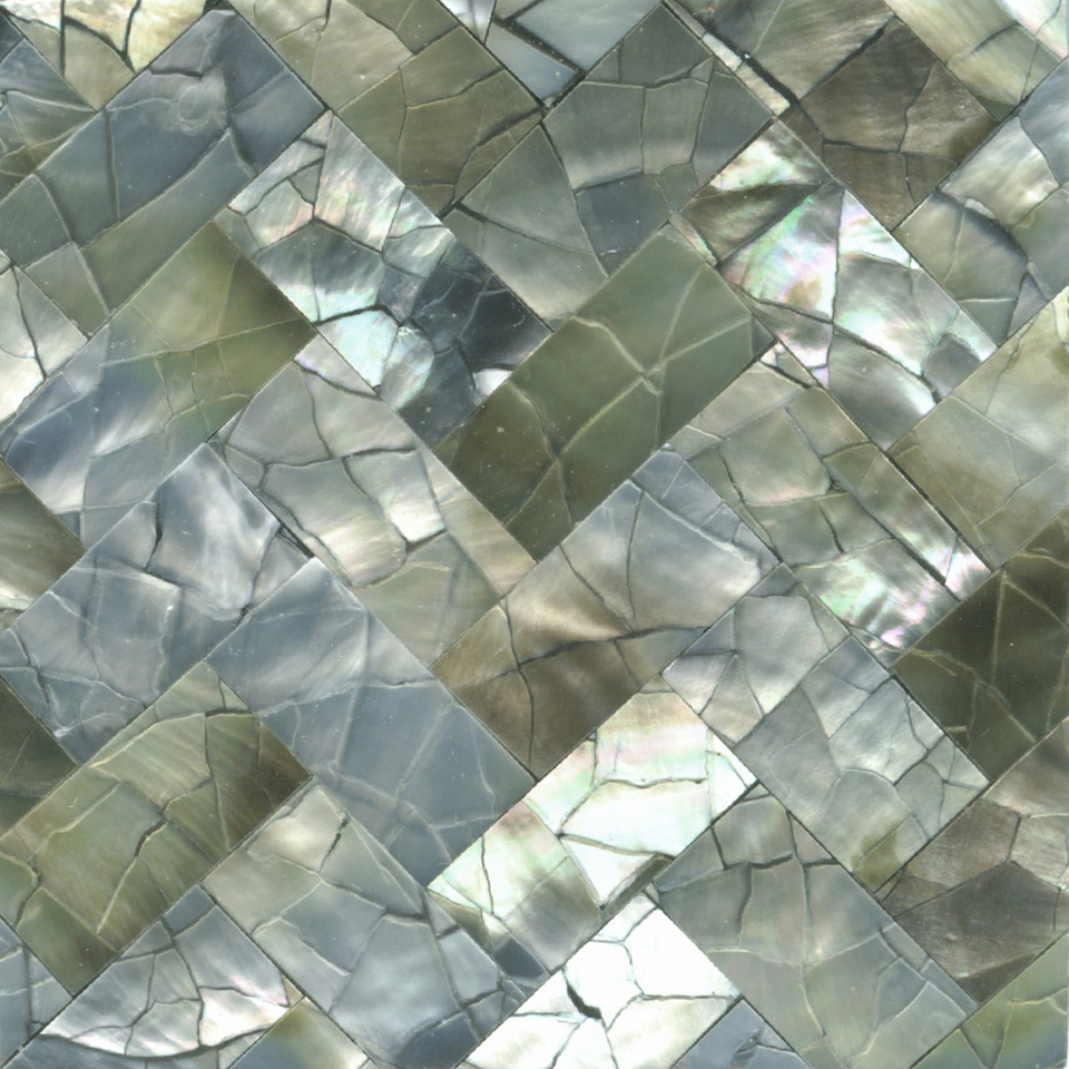 "Black Mother of Pearl Weave Crackle Shell Tile, 2x2"", 1 Tile"