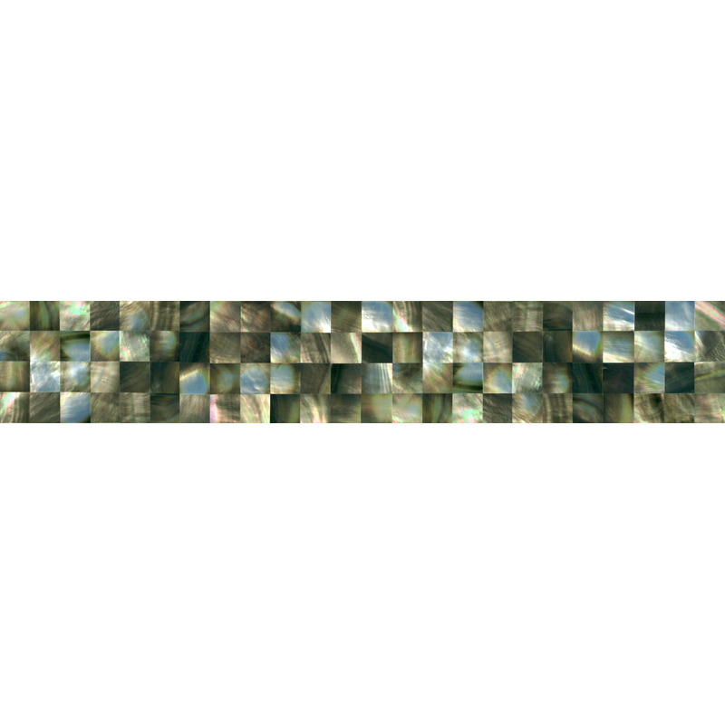 "Black Mother of Pearl Squares Shell Tile, 2x12"", 1 Tile"
