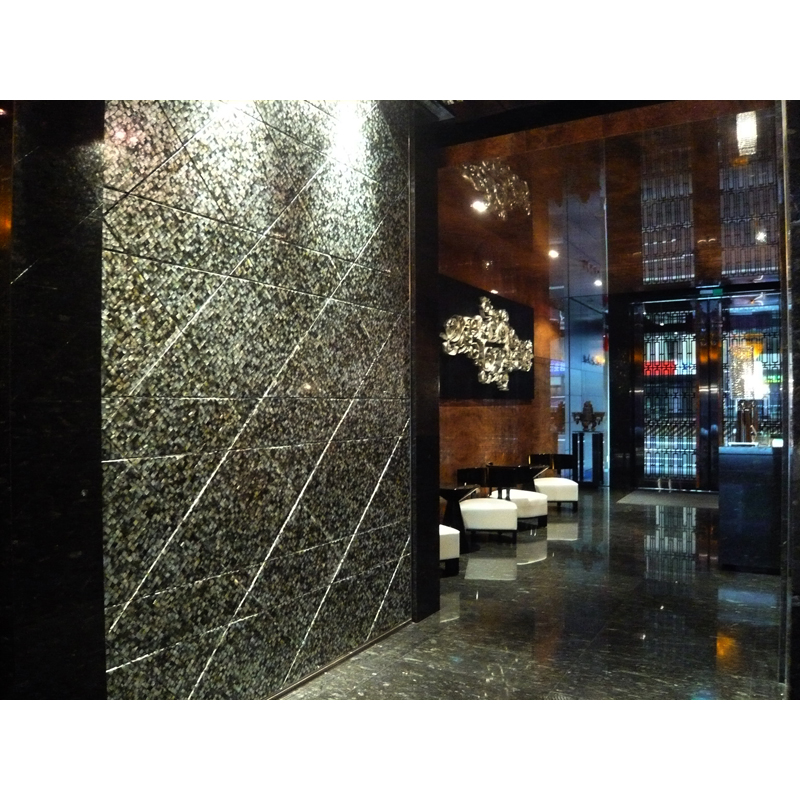 Black Mother of Pearl Brick Seamless Seashell Mosaic Hotel Wall set on the Diagonal