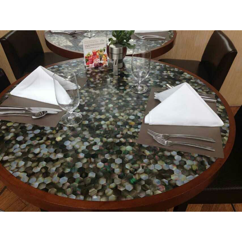 Black Mother of Pearl Seamless Hexagon Shaped Seashell Restaurant Tabletop