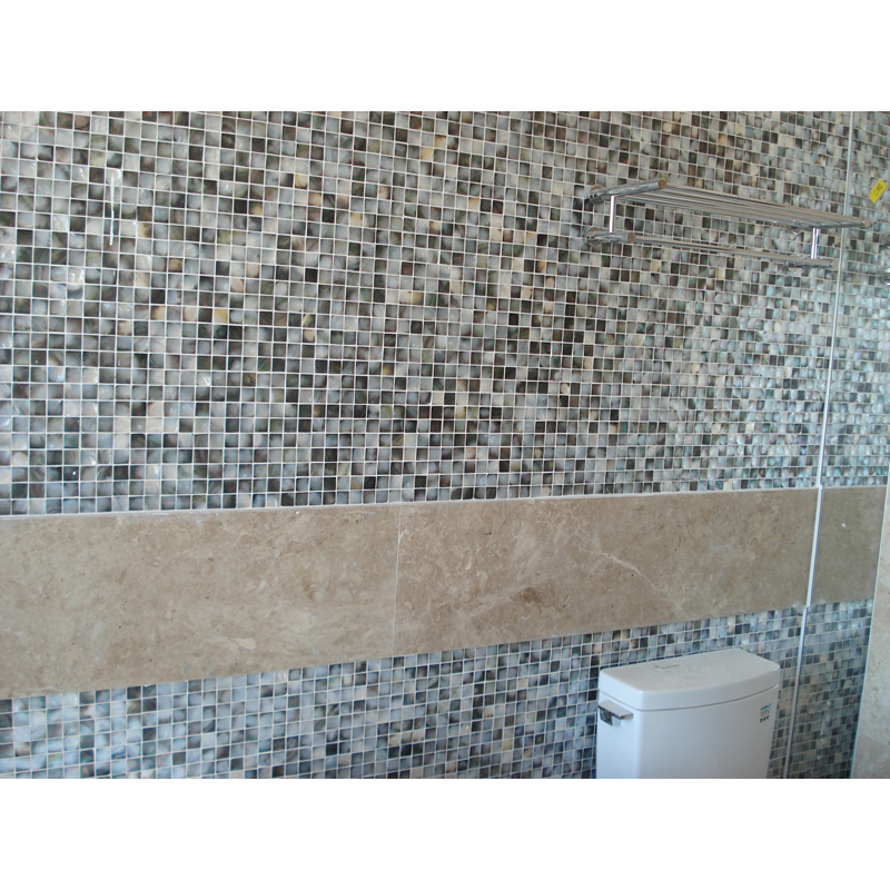 Black Mother of Pearl Shell Mosaic Bathroom Wall