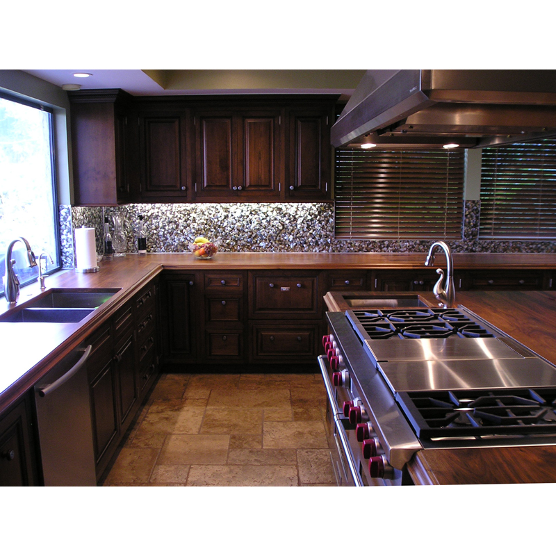 Black Mother of Pearl Seamless Kitchen Backspash, California