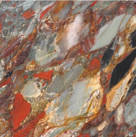 Bloodstone Semi Precious Gemstone Overlay, per Sq. Ft.