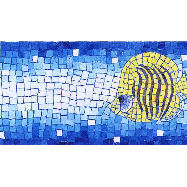 "Angelfish 2 Hand Cut Byzantine Glass Mosaic Pool Waterline, 6"" x 39.3"", 1 piece"
