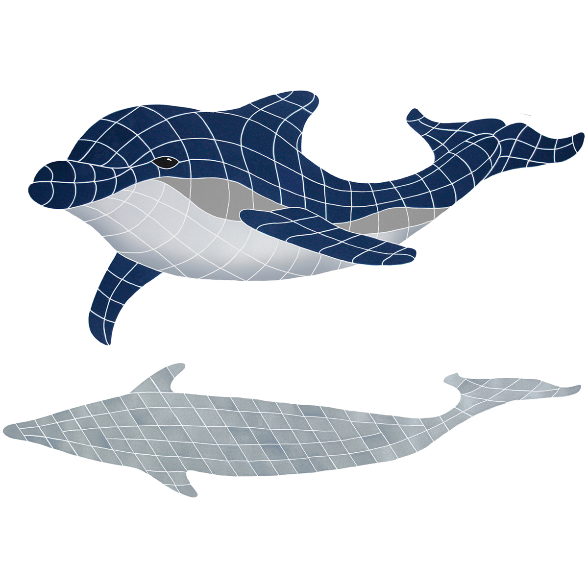 "Bottlenose Dolphin Down with Shadow Ceramic Mosaic Swimming Pool Mural 36"" x 51"", 1 piece"