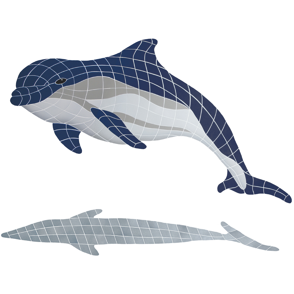 "Bottlenose Dolphin Up with Shadow Ceramic Mosaic Swimming Pool Mural 40"" x 51"", 1 piece"