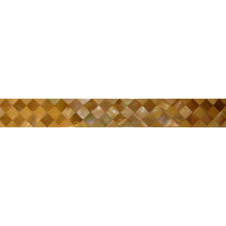 "Brown & Gold Mother of Pearl Diamond Shell Tile Border Listello 1x12"", 1 tile"