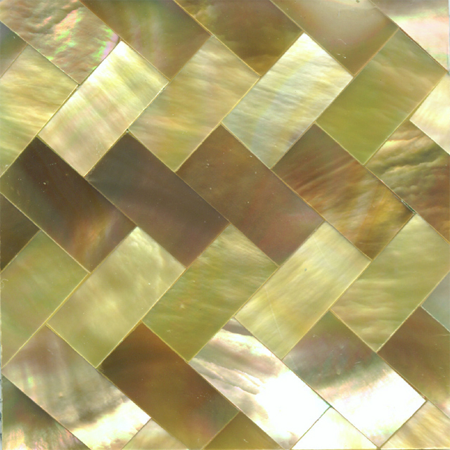 "Brown & Gold Mother of Pearl Zig Zag Shell Tile 2"" x 2"", 1 Tile"