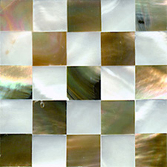 "Brown & White Mother of Pearl Check Shell Tile, 4x4"", 1 Tile"