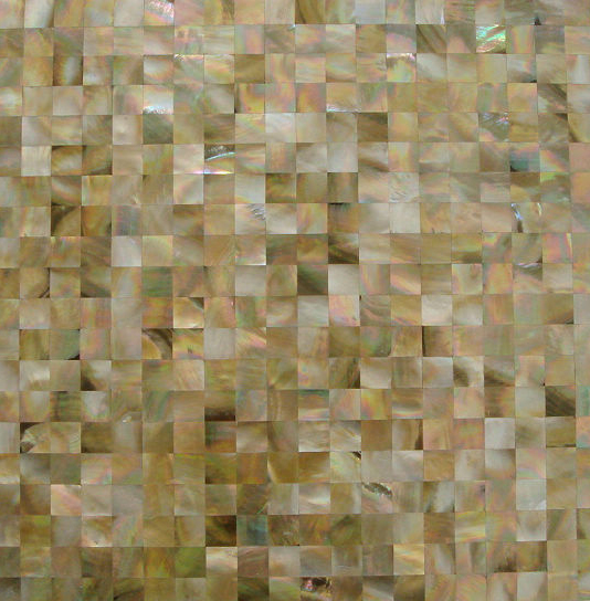 "Brown Mother of Pearl 15mm Squares Seamless Shell Mosaic Tile 11.8x11.8"", 1 tile"