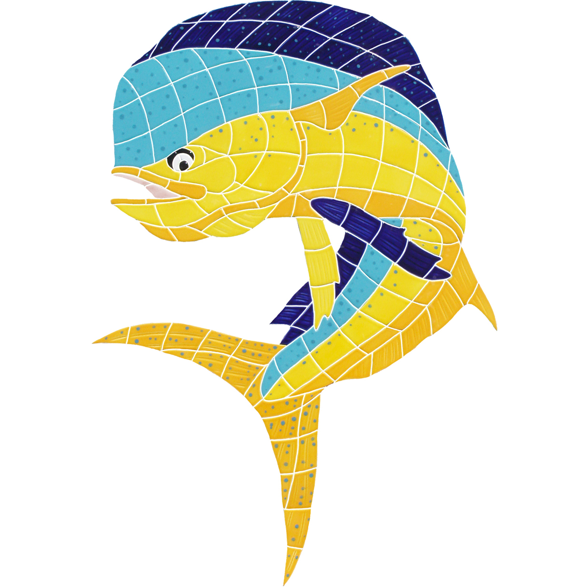 "Bull Dolphin Ceramic Mosaic Swimming Pool Mural 36"" x 27"", 1 piece"