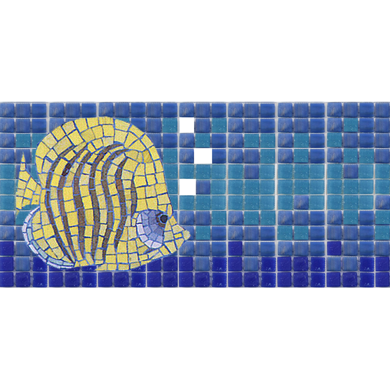 "Bubbles and Butterflyfish 10mm & Handcut Glass Mosaic Waterline or Border 5"" High, 1 Lineal Foot"