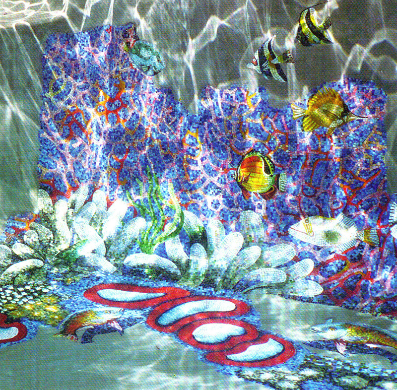 Coral Reef Glass Swimming Pool Murals