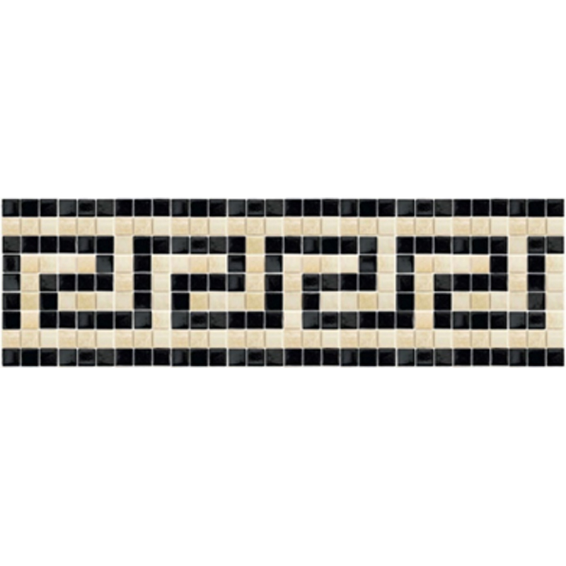 "Champagne Greek Key Glass Mosaic Waterline or Border 7.25"" High, 1 Lineal Foot"