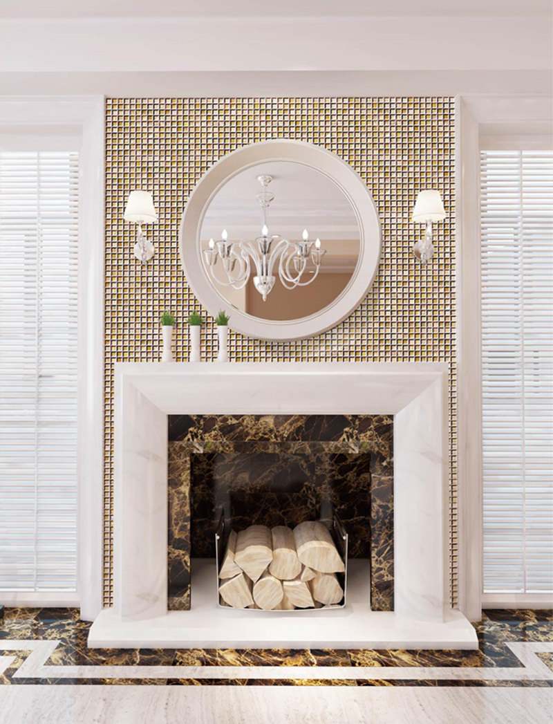 Chateau 1 Pen Shell & Gold Mother of Pearl Shell Tile Installation