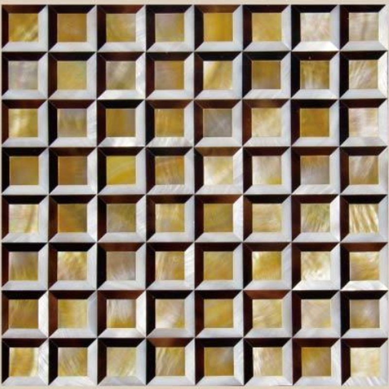 "Chateau 1 White River, Gold MOP, Pen Shell Geometric Seashell Tile, 11.81"" x 11.81"", 1 Tile"
