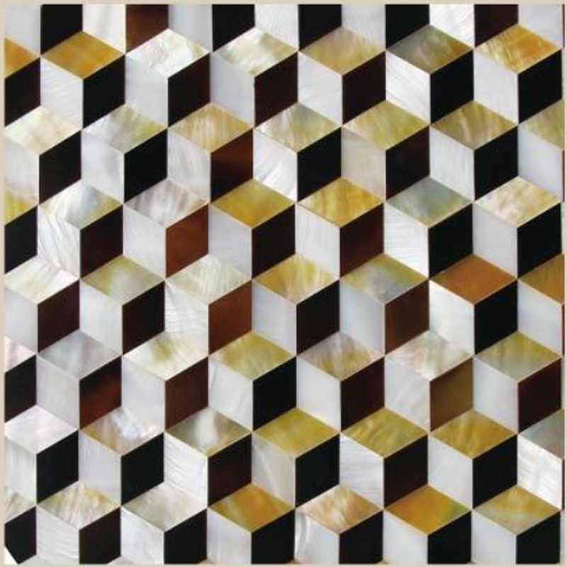 "Chateau 2 White River, Gold MOP, Pen Shell Geometric Seashell Tile, 11.81"" x 11.81"", 1 Tile"
