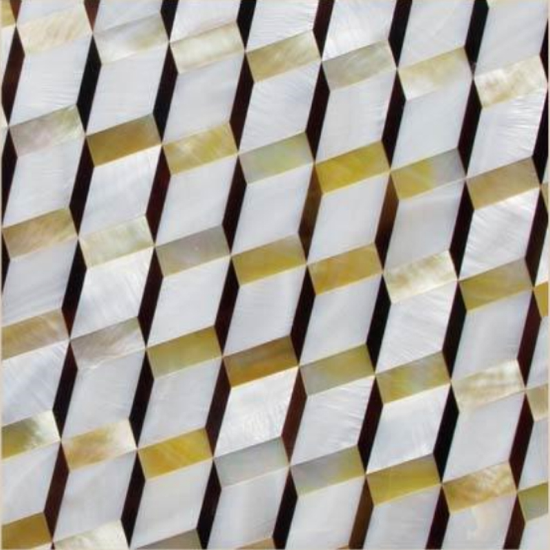 "Chateau 3 White River, Gold MOP, Pen Shell Geometric Seashell Tile, 11.81"" x 11.81"", 1 Tile"