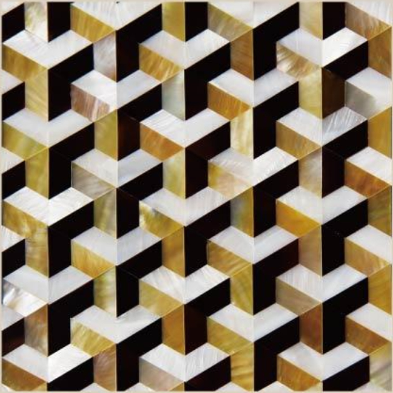 "Chateau 4 White River, Gold MOP, Pen Shell Geometric Seashell Tile, 11.81"" x 11.81"", 1 Tile"
