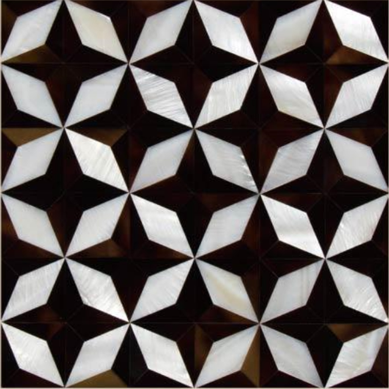 "Chateau 5 White River, Pen Shell Geometric Octagon Star Seashell Tile, 11.81"" x 11.81"", 1 Tile"