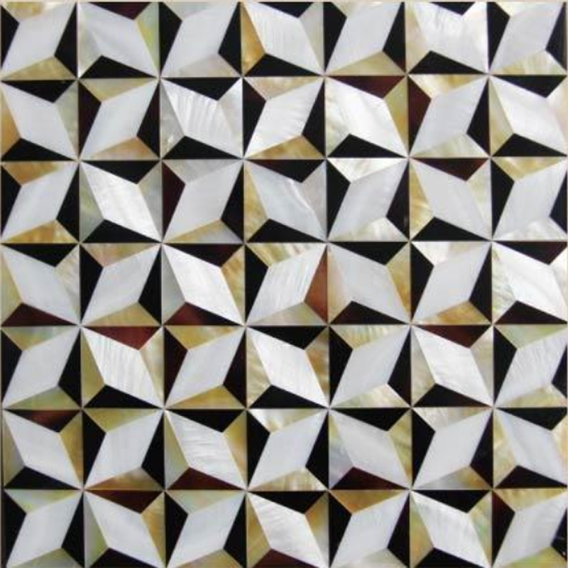 "Chateau 7 Gold MOP, Pen Shell & White River Geometric Seashell Tile, 11.81"" x 11.81"", 1 Tile"