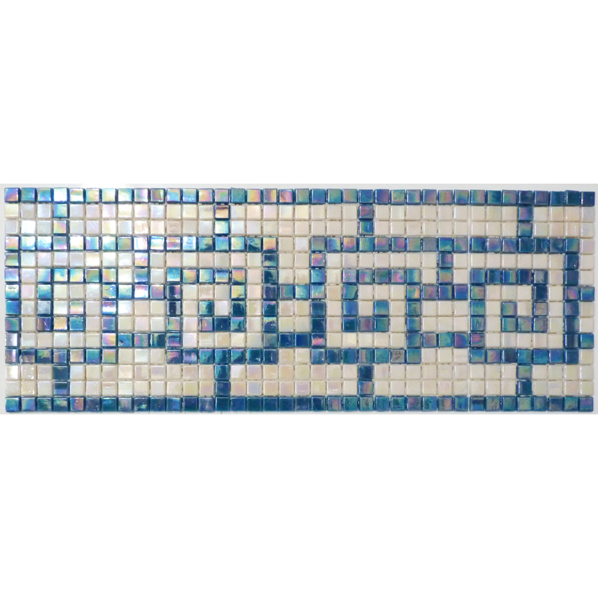 "Chinese Greek Key Glass Mosaic Waterline or Border 6"" High, 1 Lineal Foot"