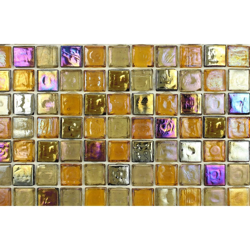 Citrine Dark 1700 Jewel Molten Glass Blend Villi Glass Mosaic Tile, 1 sheet