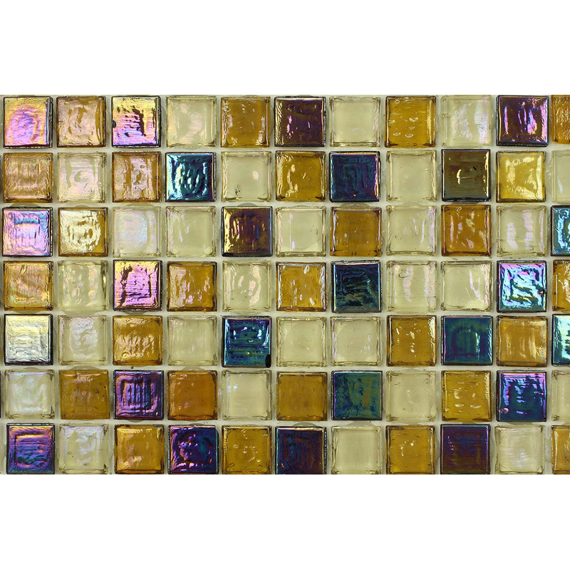 Citrine Light 1701 Jewel Molten Glass Blend Villi Glass Mosaic Tile, 1 sheet
