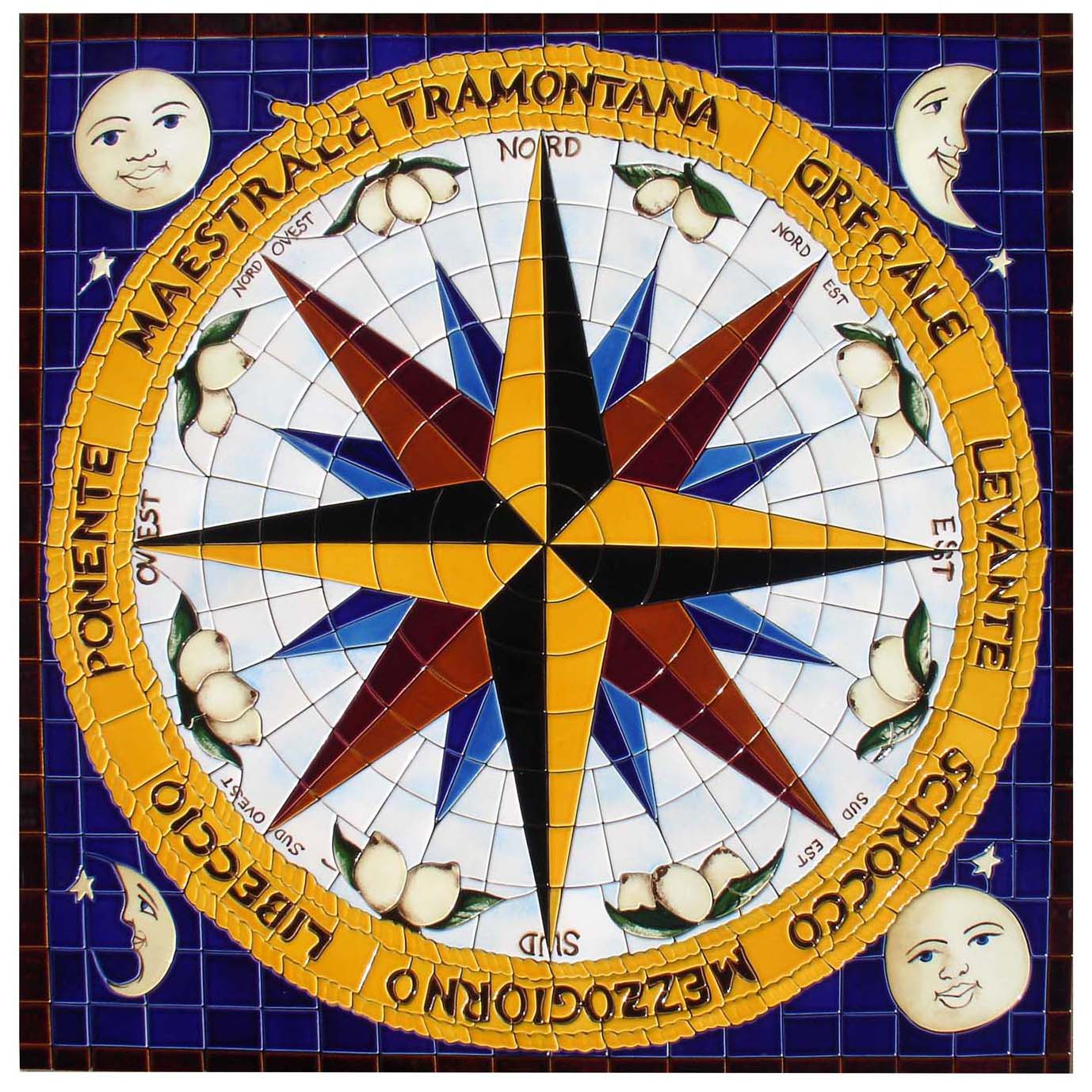 Compass Medallion, Custom Ceramic Mosaic