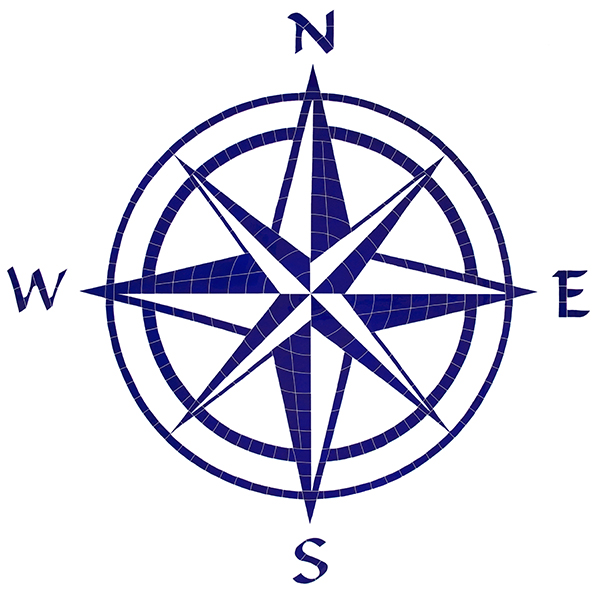 "agape tile - compass rose ceramic medallion 60"" x 60"""