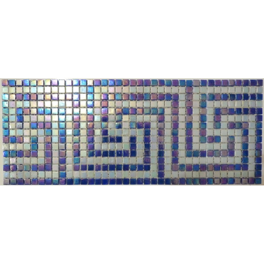 "Corfu Greek Key Glass Mosaic Waterline or Border 6.5"" High, 1 Lineal Foot"