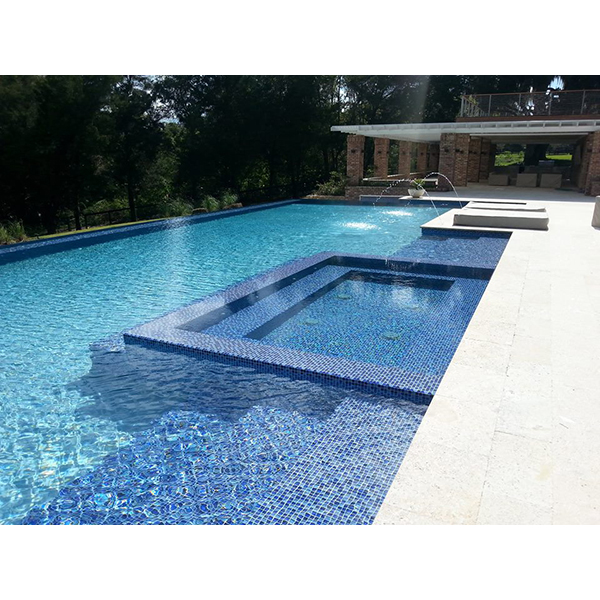 AIM Crystal Series Blue Step Swimming Pool and Spa Installation