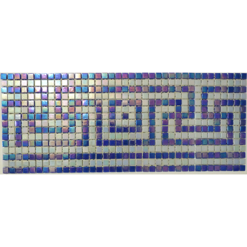"Delos Greek Key Glass Mosaic Waterline or Border 6.5"" High, 1 Lineal Foot"