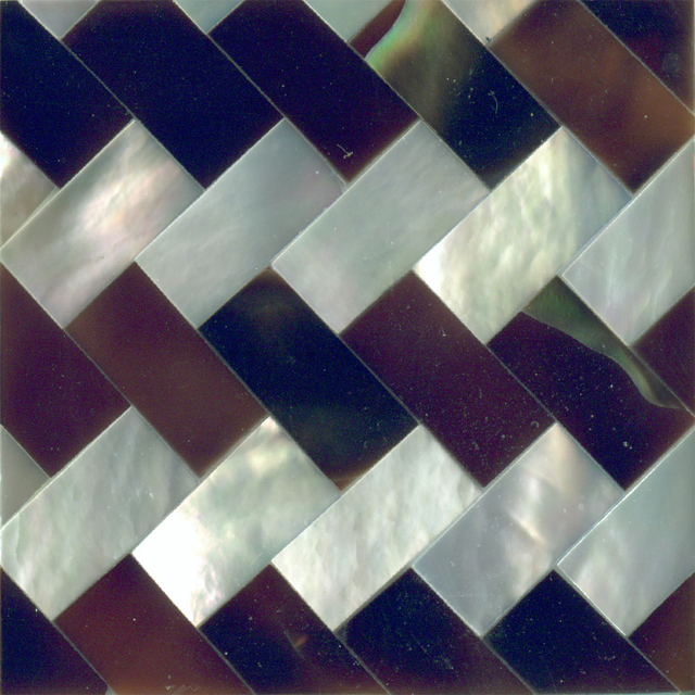"Dark Brown Tab Penshell & White Mother of Pearl Zig Zag Shell Tile 2"" x 2"", 1 Tile"
