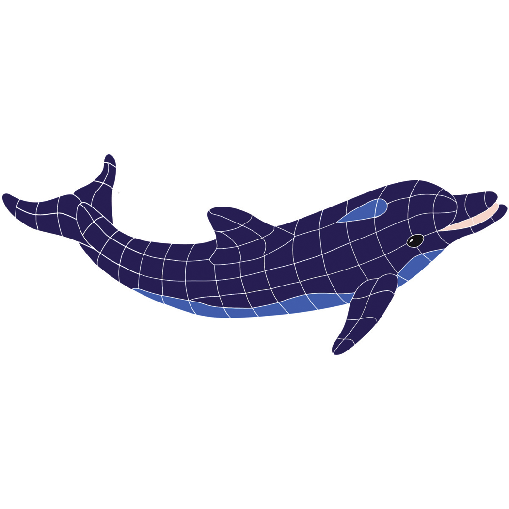 "Blue Classic Dolphin No Curve Ceramic Mosaic Swimming Pool Mural 19"" x 42"", 1 piece"