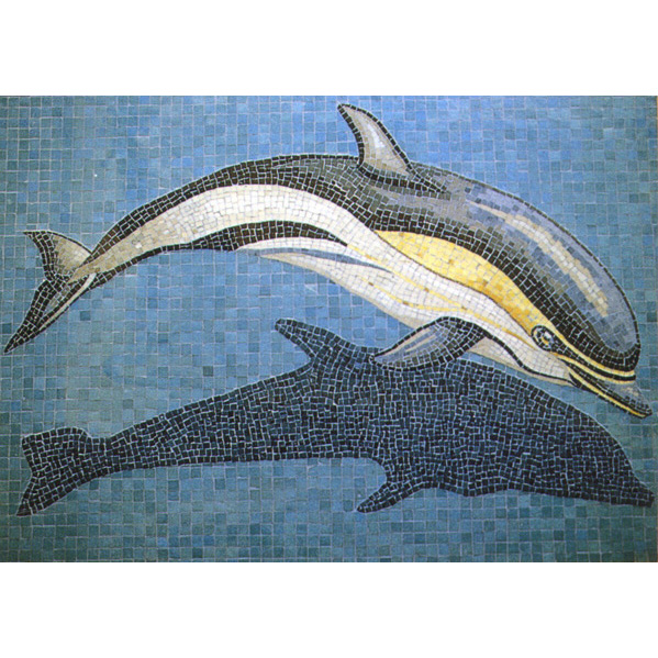 "Dolphin with Shadow Handcut Glass Mosaic Swimming Pool Mural, 31"" x 49"""