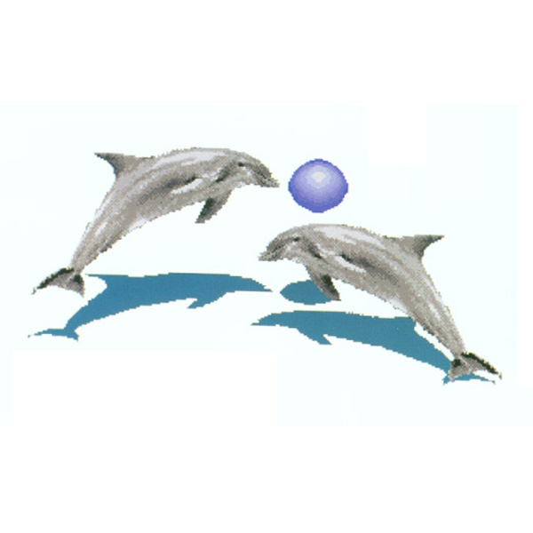 "Dolphins Playing with a Ball 10mm Glass Mosaic Swimming Pool Mural, 9'10"" x 4'10"""