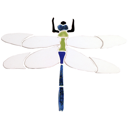 "Dragonfly Ceramic Mosaic Swimming Pool or Garden Mural 9"" x 12"", 1 piece"