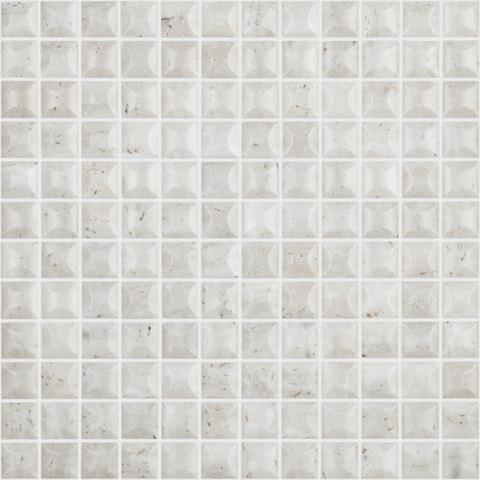 "Edna 3D Travertino Bone Matte Stones Series Vidrepur Glass Mosaic Tile, 25mm - 1"", 1 sheet"