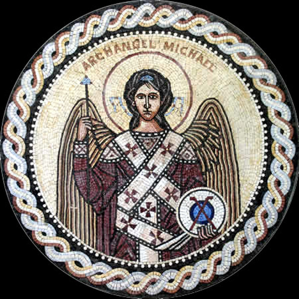 "Archangel Michael Handcut Stone Mosaic Medallion 40"" Circle, 1 piece"