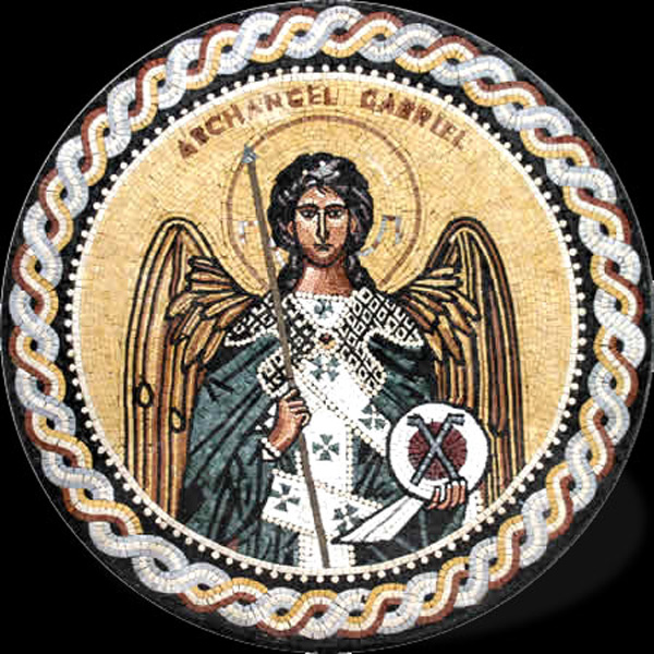 "Archangel Gabriel Handcut Stone Mosaic Medallion 40"" Circle, 1 piece"