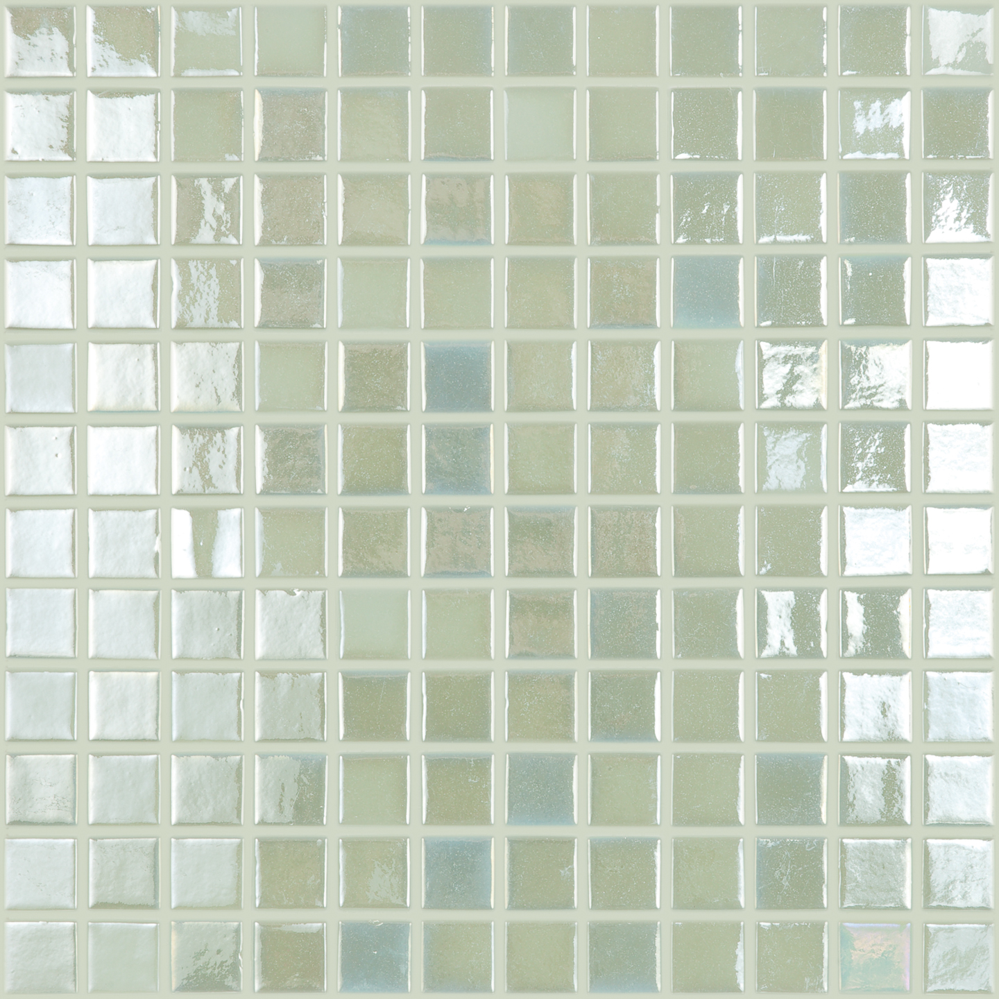 "Fire Glass Pearl White #412 Vidrepur Glow in the Dark Glass Mosaic Tile, 25mm -1"", 1 sheet"