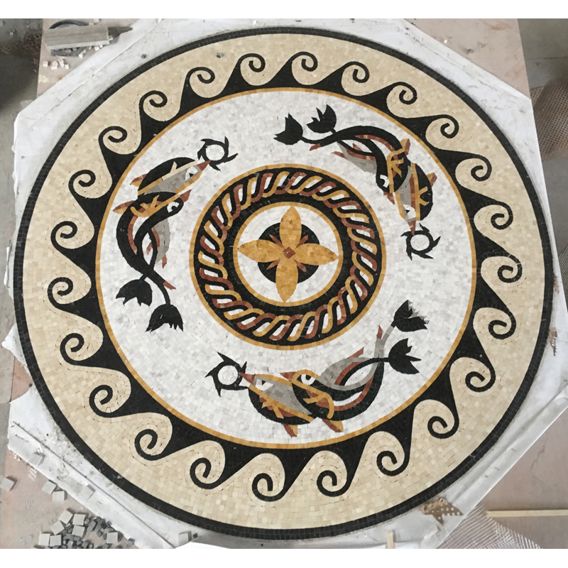 "Six Dolphins Handcut Stone Mosaic Medallion 70"" Circle, 1 piece"