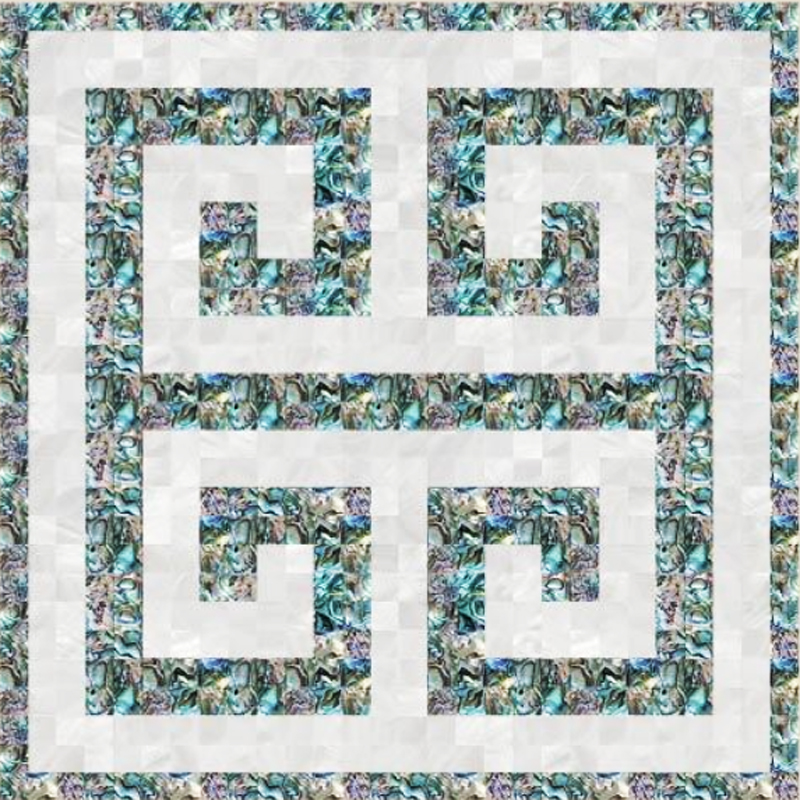 "Florence Key 1 White River & Abalone Greek Key Seashell Tile, 16.54"" x 16.54"", 1 tile"