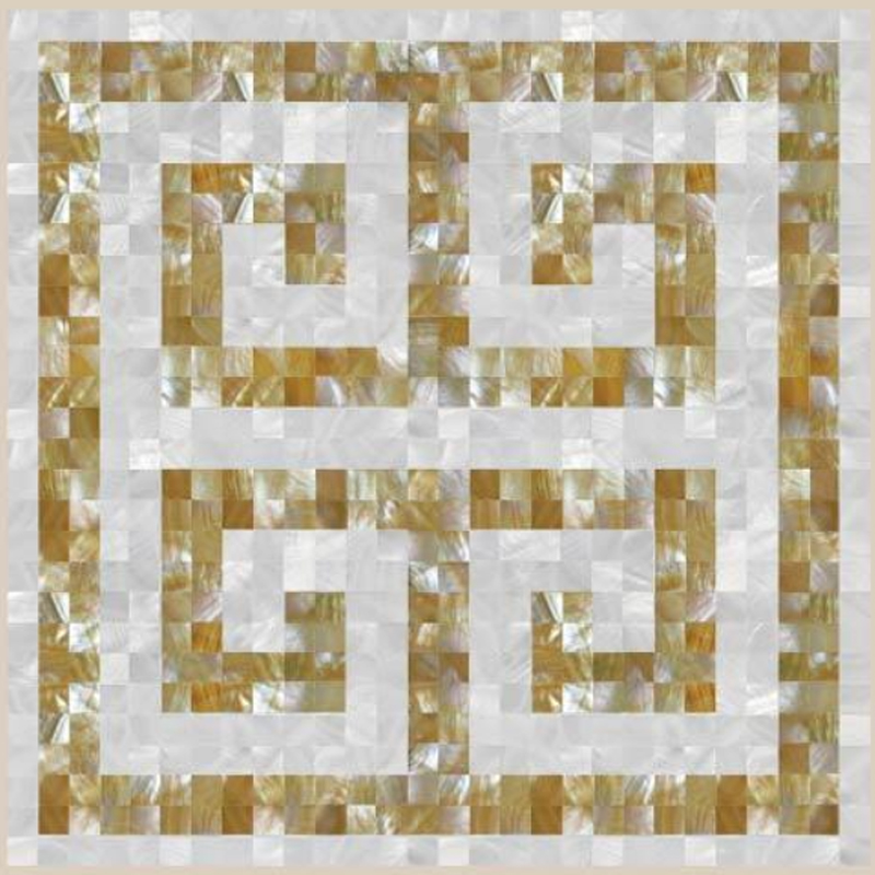 "Florence Key 3 White River & Gold Mother of Pearl Greek Key Shell Tile, 22.05"" x 22.05"", 1 tile"